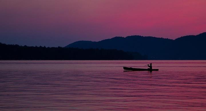Canoeist on a Adirondack Lake