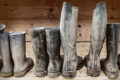Row of muddy boots